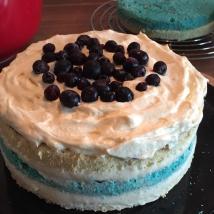 Kuchen mit Puddingbuttercreme und Heidelbeeren gefüllt
